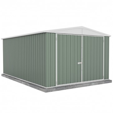 Utility Garden Shed with Gable Roof - Double Doors - 3m x 4.5m Colorbond Pale Eucalypt