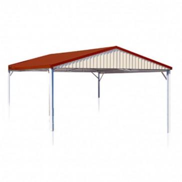 YardPro Carport Double - Gable Roof - 5.9m x 5.9m x 2.4m - W50 - C2 - Zinc
