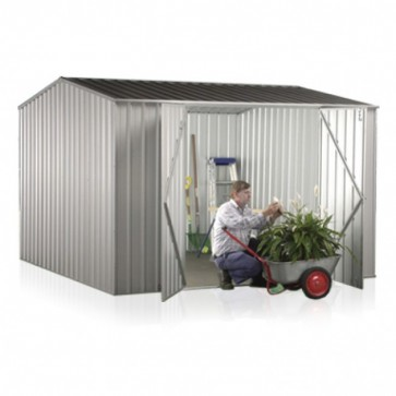 Premier Garden Shed with Double Door - 3m x 3m x 2.06m Zincalume