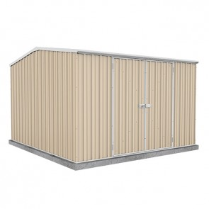 Premier Garden Shed with Double Door - 3m x 3m x 2.06m Colorbond Classic Cream