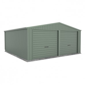 Double Garage with Twin Roller Doors - 6m x 6m x 2.5m Green
