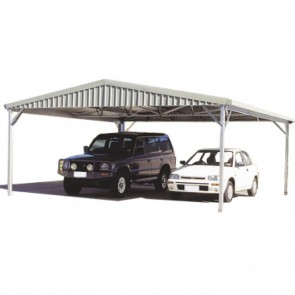 Double Carport Gable Roof 6m x 6m Zincalume